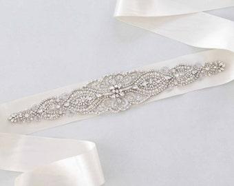 Bridal Sash, Wedding Belt, Swarovski Sash, Crystal Sash, Jewelled Sash, Crystal Belt,Swarovski Sash, Gown Sash- Dahlia