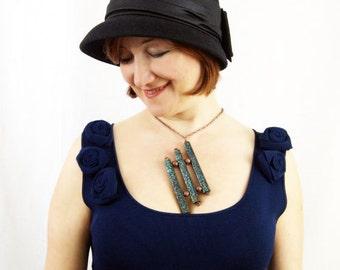 SALE (Regular 75USD) - Geometric Jewelry Beaded Necklace Peyote Stitch Beaded Jewelry Bead Tube Jewelry