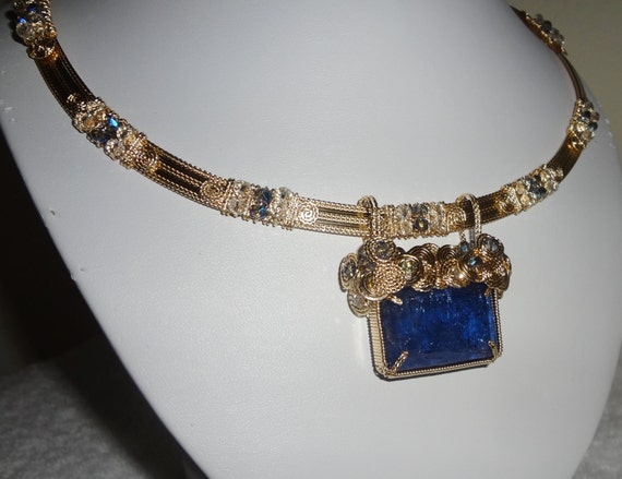 "Rare 51ct Natural Earth Mined AAA Violet Blue Rectangle Tanzanite, 14kt yellow gold Necklace 19 1/2""  19 1/2 inches"