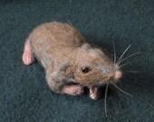 Needle Felted Shrew Shoulder Pet -- Life Sized