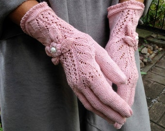 Bright Pink Elegant Vintage Victorian Lace Gloves in Boho Style - by Dom Klary