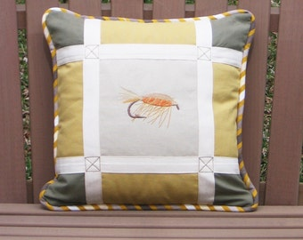 Square Pillow The Fishing Flies No 4 Fishing Day Collection 14 x 14 Sporty Style Lodge decor chic Khaki Yellow Beige Fisherman Gift Nature