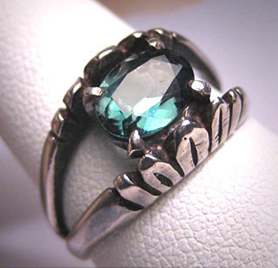 antique green tourmaline ring vintage by aawsombleijewelry