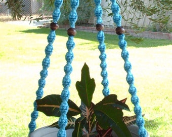 MACRAME Plant Hanger 52in Deluxe Style with BEADS - Sky Blue - Choose Color