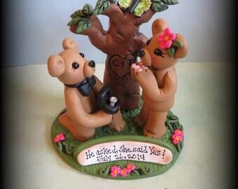 Wedding Cake Topper, Bear, Engagement Cake Topper, Polymer Clay Custom Wedding or Anniversary Keepsake, Park Scene, Tree, Personalized