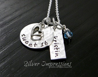 Sweet 16 / Personalized Hand Stamped Necklace / Birthday gift