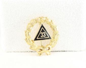 Vintage 33rd Scottish Rite Degree Masonic Lapel Pin -Gold
