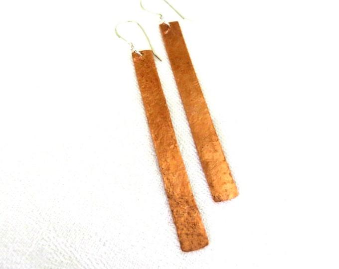 Long Earrings, Dangle Earrings, Copper Earrings, Textured Copper,Eco Friendly, Rustic, Hipster