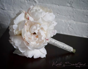 Petite Ivory Peony Wedding Bouquet with Rhinestone Handle