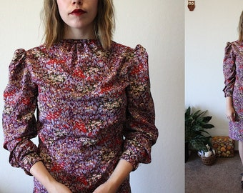 Vintage Purple Floral Secretary Dress / M