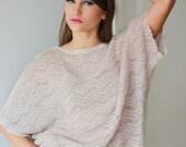 Beige Linen Blouse  Knitted Top Jersey Shirt Women Sweater Eco Blouse