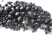 Mixed Lot of BLACK Loose Glass Beads from Antique Necklaces