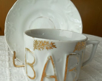 Antique German Child's BABY Cup & Saucer w/ Gold Trim
