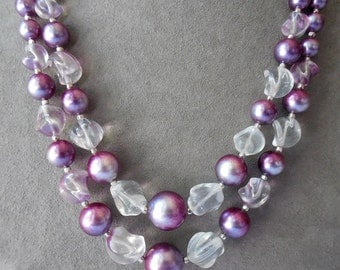 Purple Plastic & Glass Bead 1950s 2 Strand Choker Necklace    KAE16