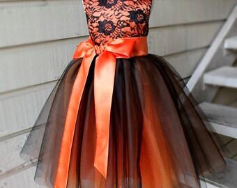 Orange and Black Tutu Pumpkin Dress, Halloween, Thanksgiving, Size 2T- 14,Princess Party, Flower Girl