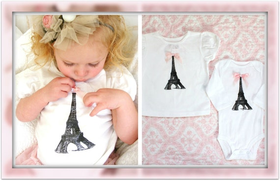 Baby Girl 1st Birthday Outfit Screen Printed Paris Eiffel Tower Tee / T-Shirt OR Bodysuit.  Big Sister, Little Sister, Paris, Christmas Gift