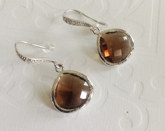 Smokey Quartz Dangle Earrings, Gift for her, mom, sister, friend, earth tone Drop earings, Bridesmaids gifts, sterling silver