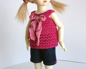 Short Set Outfit for Yosd 1/6 BJD - Crochet Top and Shorts