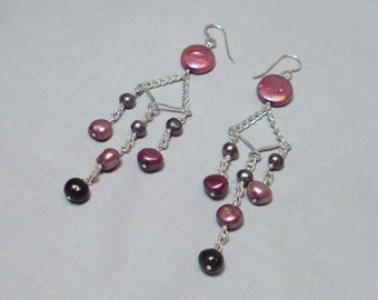 long freshwater pearl dangle earrings magenta pink fuschia black gray silver chandelier