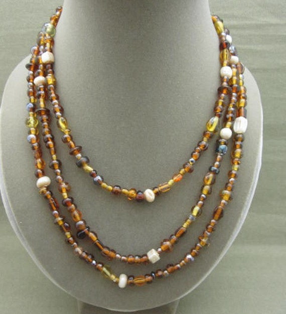 Long Browns Glass Beaded Strand Necklace, 60 inch brown bead necklace