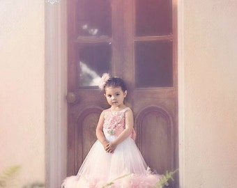 Tea Rose -  Girls Feather Dress, Flower Girl Dress