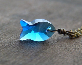 Blue Fish Necklace - Swarovski Crystal Necklace - Capri Blue Crystal Necklace - Glitter Necklace - Summer Jewelry