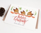10 Personalized Christmas Notecards - Holiday Greetings from Fox Family