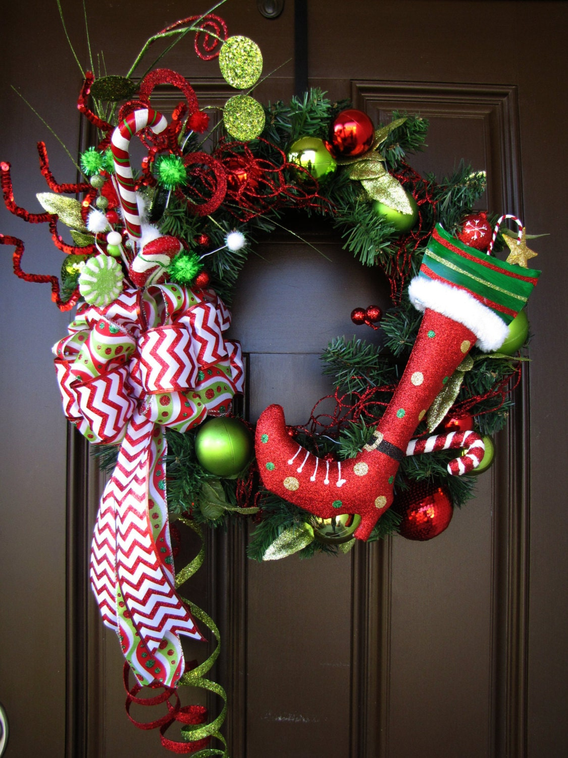 Chevron Bow Lime Green and Red Christmas Wreath Gilttery