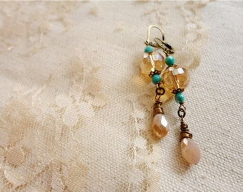 Champagne, teal, and ballet pink glass bead dangle earrings, Summer Days and Peach Tea