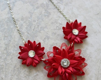 Red Statement Necklace, Red Bridesmaid Necklace, Scarlet Red, Ruby Red Jewelry, Red Accessories, Christmas Red Necklace, Red and Silver