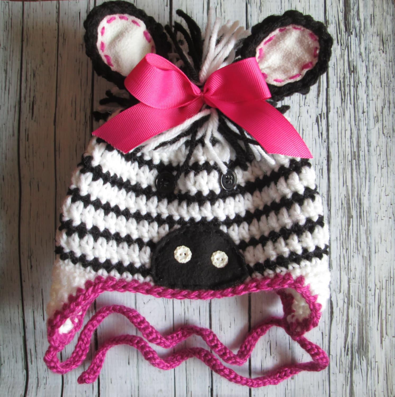 Crochet Pattern Zebra Hat : Zebra Hat Crochet Baby Zebra Hat Pink Zebra Crochet Hat