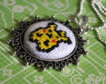 Pikachu - Pokemon Inspired - Pixel Point Pendant - Mini Cross-Stitch Necklace