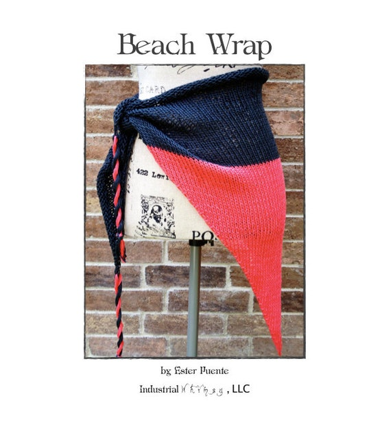 Beach Wrap Knitting Pattern Sarong- Summer Knitting Craft Party Lightweight Wrap Tassels WWKIP Day