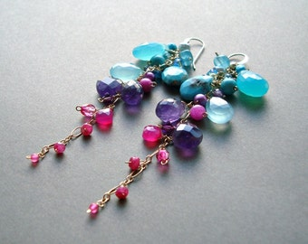 Colorful Gemstone Dangle Earrings, Aqua, Purple, Hot Pink, Long Cluster Dangle, Bright, Boho Gemstone Earrings