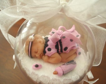 Baby's First Christmas Ornament- Girl in Pink Party-OOAK