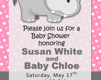 Hippo Baby Shower or Birthday Party Invitations