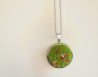 Claudet // Spring Inspired Embroidered Art Pendant Necklace, Impressionism, Monet, Green, Grass, Nature, Flowers, Bright, Cheerful, Colorful