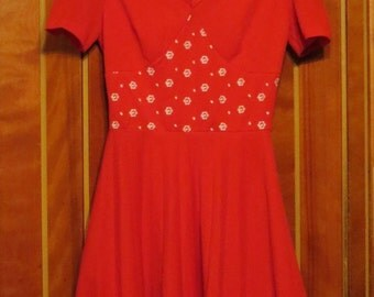 1960s Crimplene Embroidered Bodice Red Dress