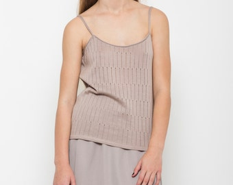 Taupe tank top, summer knit top, knitted tank top, sleeveless top, blush tank top, spaghetti straps top, semi sheer top, summer knit