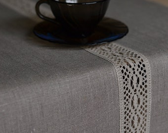 Wonderful Table Runner Natural LinenRunner With Lace Gray Table Runner Eco Friendly  Linen Runner