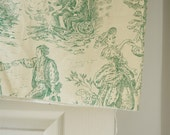 Vintage french toile du jouy fabric in green and cream pastoral countryside provincial scenes