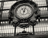 Black and White Paris Photography - Musee D'Orsay Clock Print - French Decor Travel Photography Time Parisian Wall Art Urban Decor