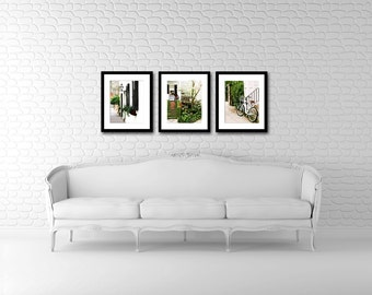 Charleston Photography Collection - Southern Decor - Green Black White - Bicycle Prints - Photo Set - Front Porch - Sweet Tea - Wall Art