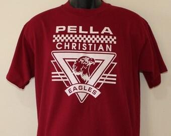 Pella Christian Eagles vintage maroon t-shirt L/M