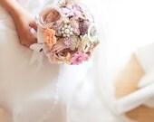 Brooch Bouquet - Custom Medium Bridal Bouquet - Romantic Silk Flowers & Enamel Brooches - Made to Order - Locket w/ Family Photos