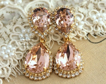 Rose Gold Blush Earrings Bridal Blush Earrings Bridal Drop