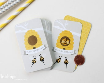 24 Scratch-off Cards // Baby Shower Game, Party Game, Baby Shower Activity, Scratch-off Game // Baby Bee