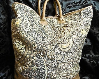 Large Carry-All Tote in Paisley Brocade and Leatherette