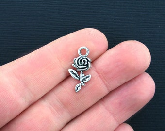 12 Rose Charms Antique Silver Tone - SC2160