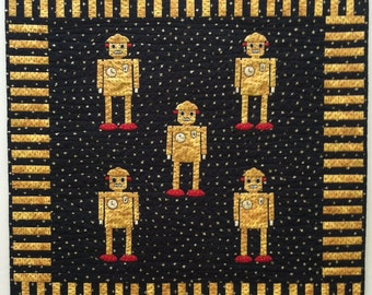 Atomic Robot Man Hand Appliqued Miniature Quilt or Wall Hanging